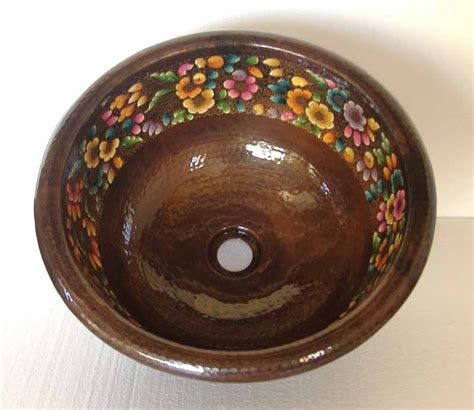 mexican bathroom sinks hand painted mexican copper sink copper vessel sink