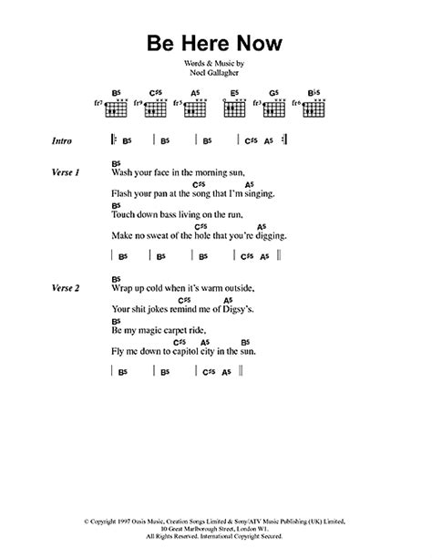 7 online com here and now be here now sheet music by oasis lyrics chords 41700