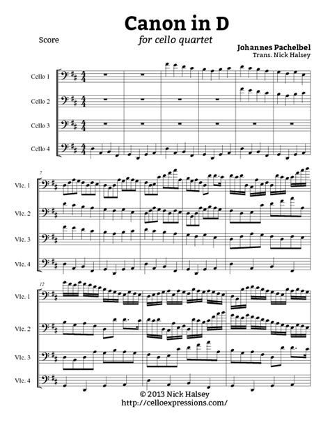 canon in d cello expressions sheet music library