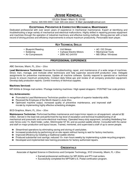 maintenance technician resume exles industrial mechanic template resume for maintenance
