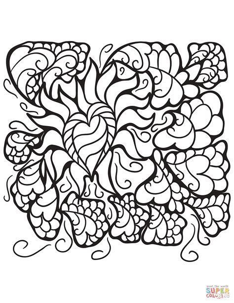 abstract coloring pages hearts abstract heart patterns coloring page free printable
