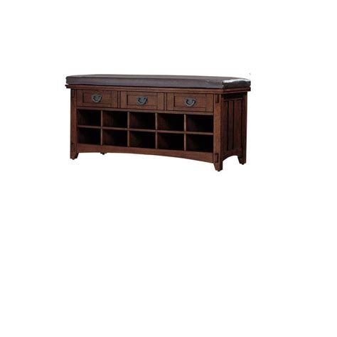 home depot shoe bench home decorators collection artisan macintosh oak 3 drawer