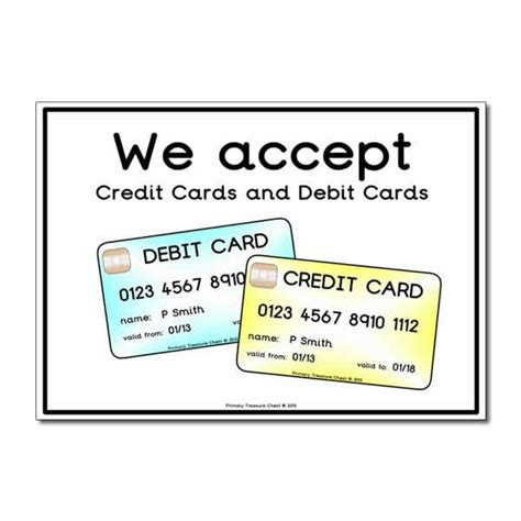 Mastercard Gift Card Debit - role play credit cards debit cards poster primary treasure chest