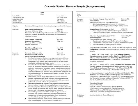 resume exle two page resume exle free one page