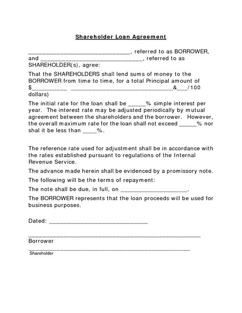 Shareholder Loan Agreement Template It Resume Cover Letter Sle Simple Loan Agreement Template