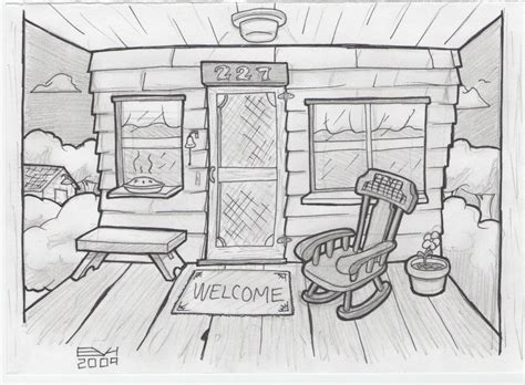 house porch drawing september 2009 doodle a day
