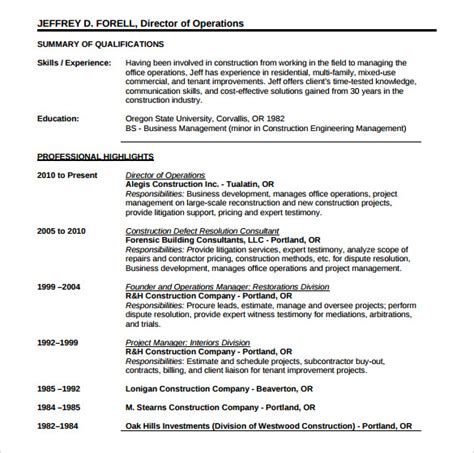 resume templates construction sle construction resume template 11 free documents