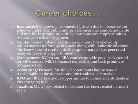 Mba In Insurance And Risk Management Salary by Career Options In The Commerce