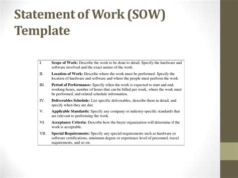 procurement statement of work template procurement ops450