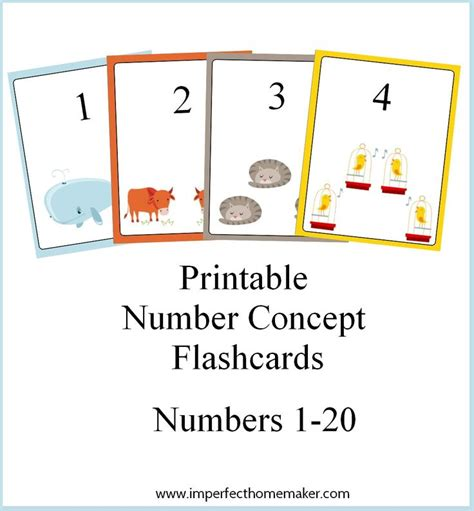 mixed number flashcards printable printable number concept flashcards printable numbers
