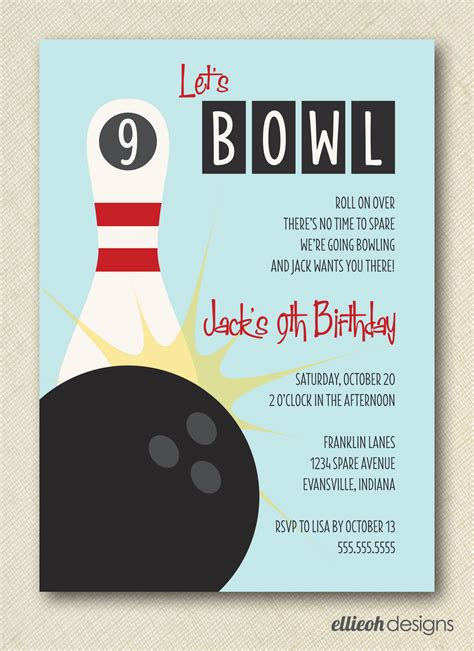7 best images of bowling party invitations printable