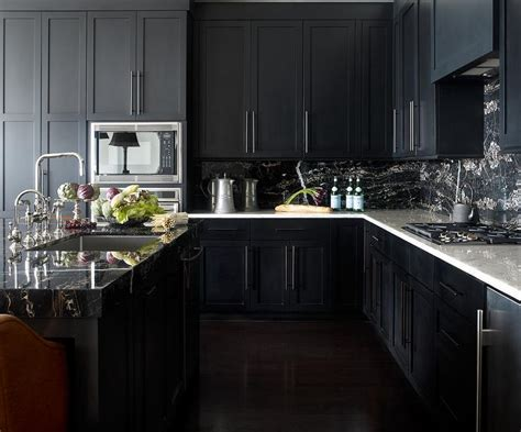 Grey Kitchen Cabinets With Black Countertops by Noir Kitchen Cabinets With White Marble Countertops