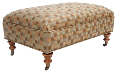Ottoman On Casters Fully Upholstered Ottoman With Turned Legs On Casters Traditional Footstools And Ottomans