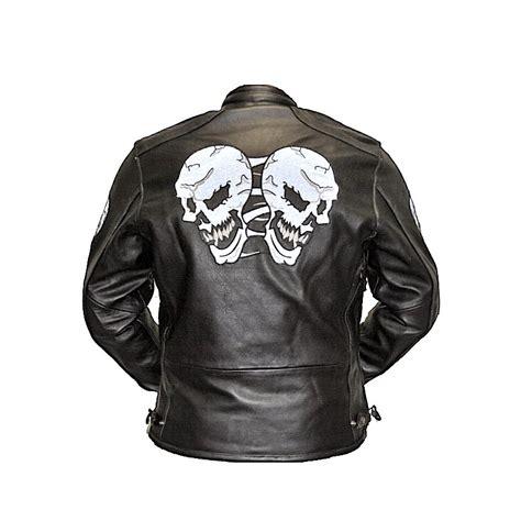 chaquetas de cuero para moto chaqueta de cuero con craneos reflectantes ropa de motos