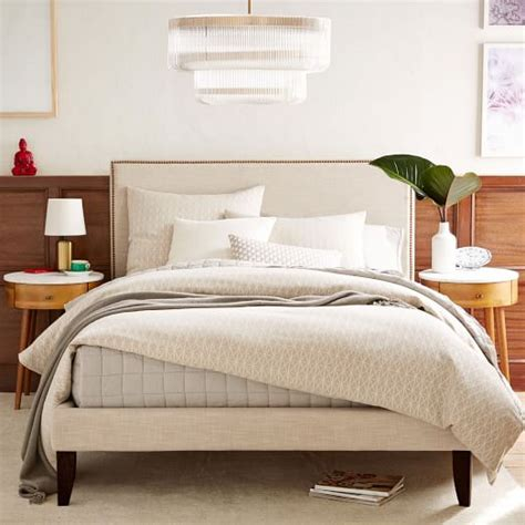 narrow headboard low upholstered nailhead bed linen weave west elm
