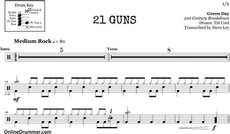 real drum tutorial 21 guns 21 guns piano notes for beginners