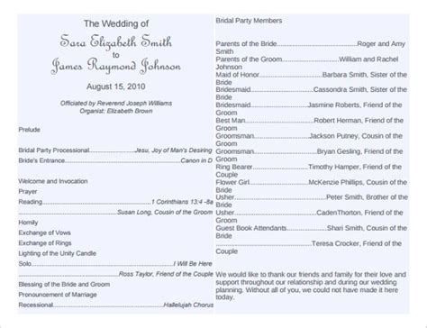wedding bulletin templates wedding program template 61 free word pdf psd