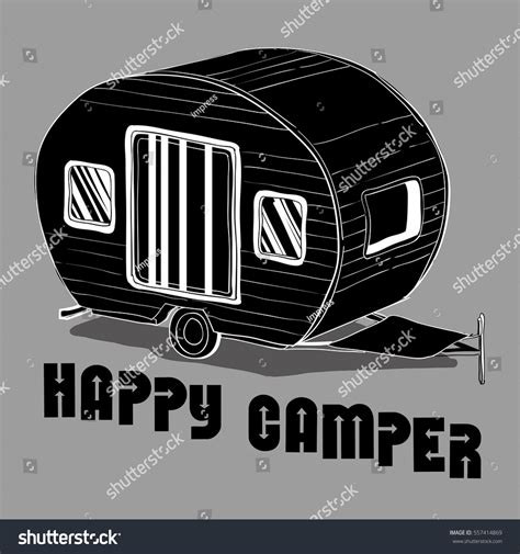 doodle trailer vector illustration isolated doodle stock