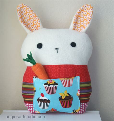 Patchwork Toys - cupcake the patchwork bunny pillow plush angie s