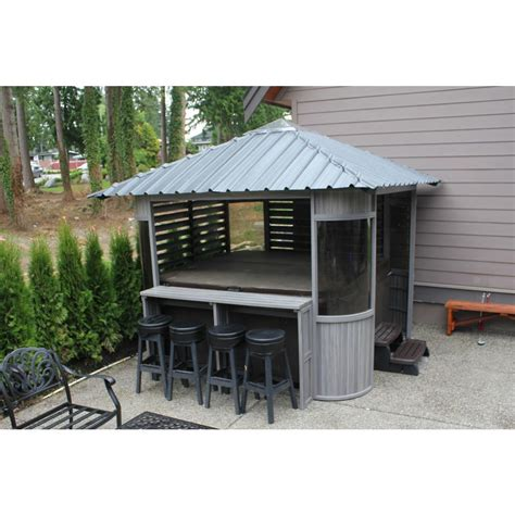spa gazebo 10 ft zento ultrawood spa gazebo with bar and stools zen