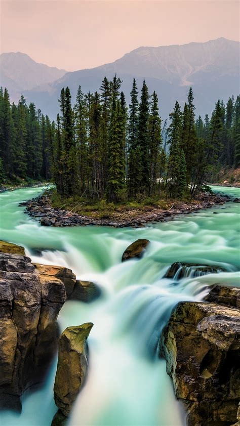 wallpaper jasper national park canada waterfall