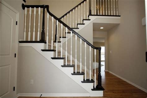 White Banister by Black Railing White Spindles For The Home