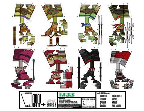 Mutant Turtles Papercraft - minibit series 3 turtles sheet by