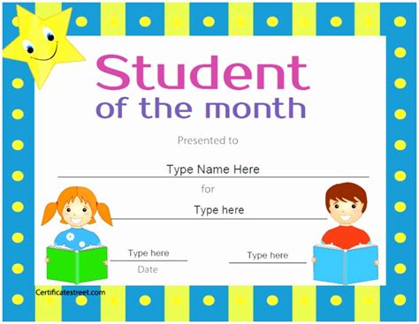free printable student of the month certificate templates student of the month template images template design ideas