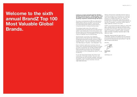 most valuable global brands in 2011 by wpp