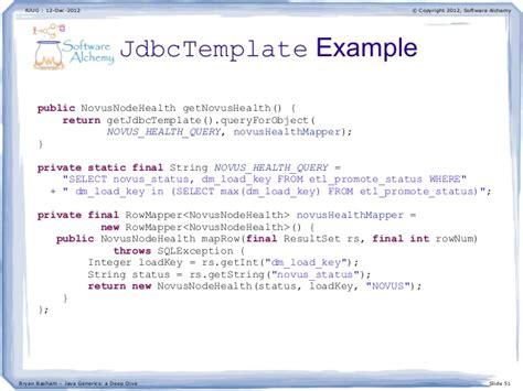 jdbc template java generics a dive