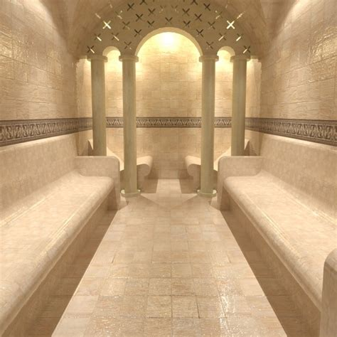 Steam room with columned arch