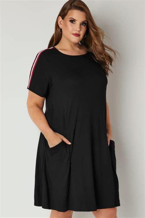 Big Stripe Top Or Dress black jersey pocket dress with stripe shoulders plus size