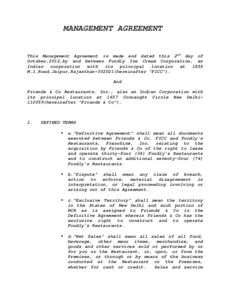 business management agreement template management agreement sle