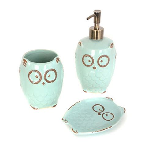 kirklands turquoise owl 3 bath accessory set