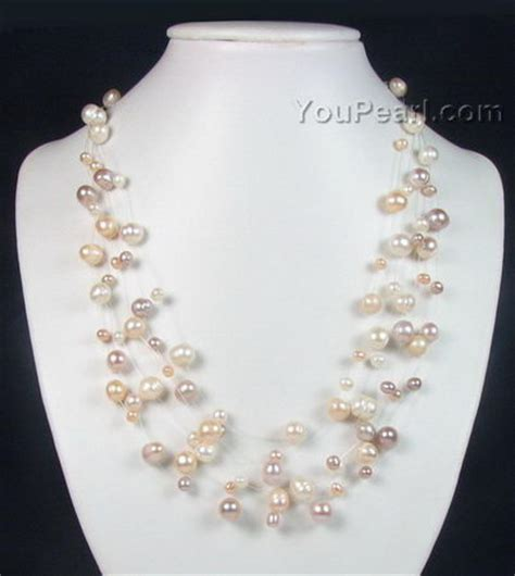 wholesale pearls for jewelry multicolor illusion freshwater pearl necklace bridal