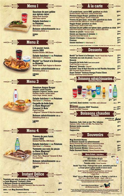 cowboy cookout barbecue menu dlp guide disneyland paris restaurants dining places to eat