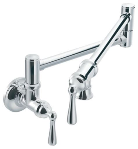 Moen Wall Mount Kitchen Faucet Moen S664 Pot Filler Two Handle Wall Mount Kitchen Faucet In Chrome Traditional Pot Fillers