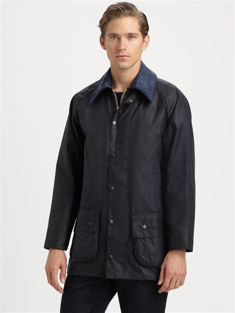 barbour jacket barbour beaufort waxed cotton jacket in blue for start of color list navy lyst