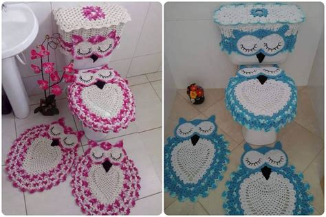 owl bathroom sets crochet owl bathroom set free pattern
