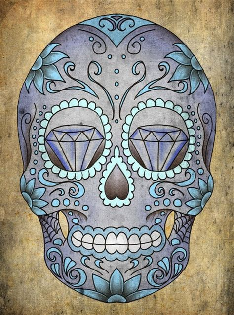 sugar skull tattoo diamond eyes meaning skull illustration tattoo art tattoo design sugar