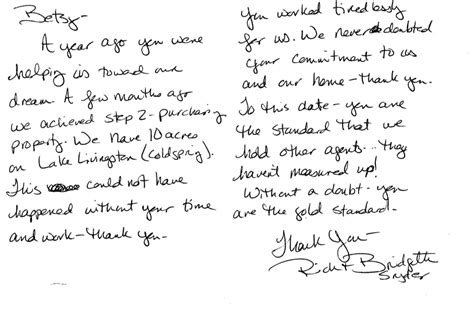 Letter Closing Much Recommendations From Satisfied Clients Betsy Churgai Island Associates Real Estate Port Aransas