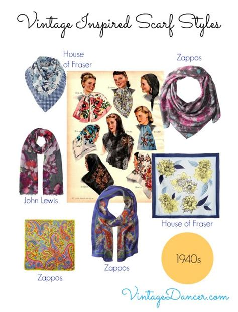vintage scarves styles from 1920s to 1960s