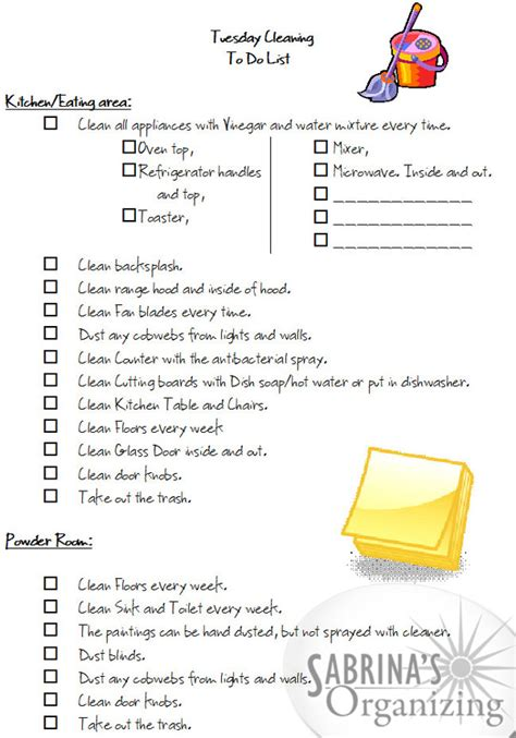 monday  friday cleaning checklists tuesday