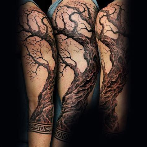 tree sleeve tattoos 75 tree sleeve designs for ink ideas with