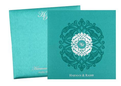 Wedding Invitation Card Royal by Wedding Invitation Card In Royal Aquamarine And Silver Colour