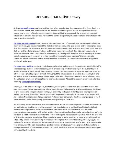 how to write a personal narrative essay for college personal