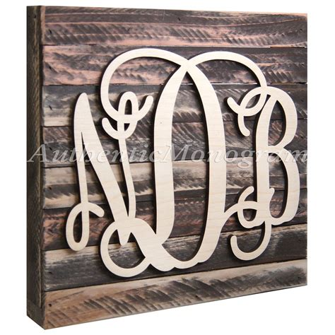 wooden monogram letters custom three letter wooden monogram with 1725