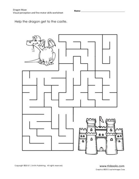 printable dragon mazes dragon maze visual perception and fine motor skills