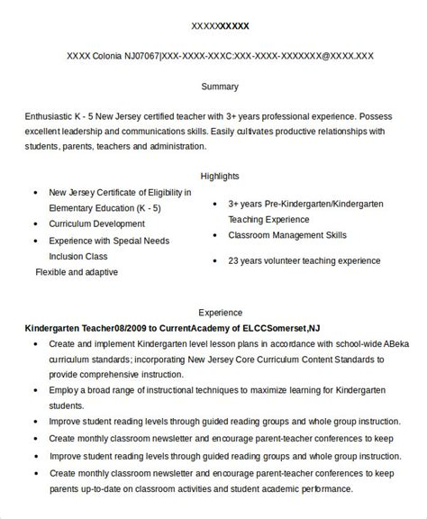 Kindergarten Resume by 9 Substitute Resume Templates Pdf Doc Free