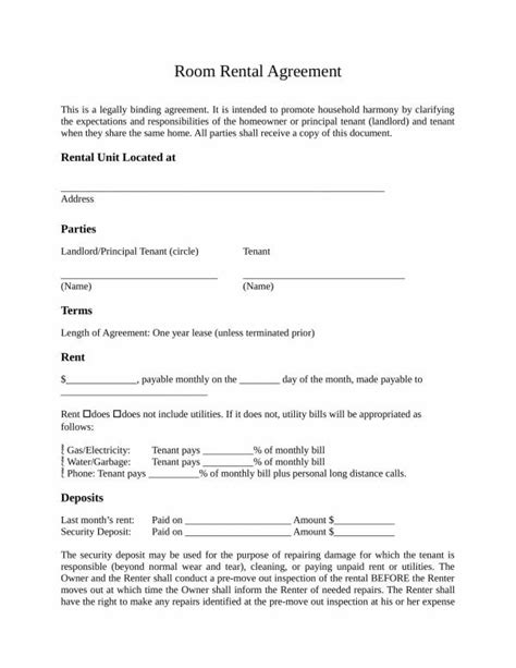 FREE 11+ Sample Room Rental Agreement Templates in PDF | Word